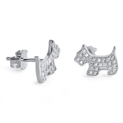 Cute Dog Earring Solid 925 Sterling Silver Round Sparkling Brilliant White Clear Diamond CZ Dog Stud Post Earring Dog Jewelry Children Gift - Blue Apple Jewelry