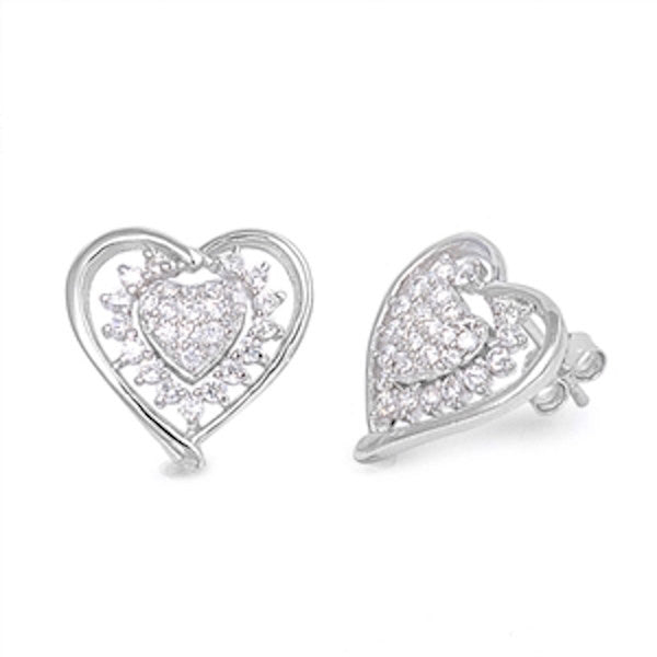 Cute Double Heart Stud Post Earring Solid Sterling Silver Brilliant Pave Sparkling Russian Diamond Clear CZ Heart Earring Valentines Gift - Blue Apple Jewelry