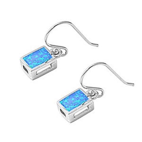 New Design 9MM Cute Dangle Drop Fashion Fish Hook Earrings Rectangle Fire Blue Australian Lab Opal Solid 925 Sterling Silver Lovely Gift - Blue Apple Jewelry