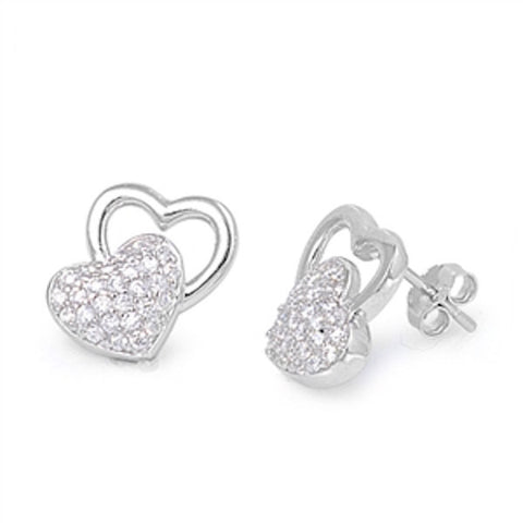Love Double Heart Stud Post Earring 925 Solid Sterling Silver Brilliant Pave Sparkling Diamond Clear White CZ Heart Earrings Valentines Gift