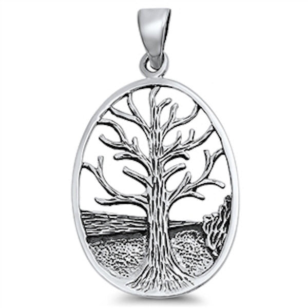 Medallion Original Oval Tree Of Life Pendant Charm Solid 925 Sterling Silver