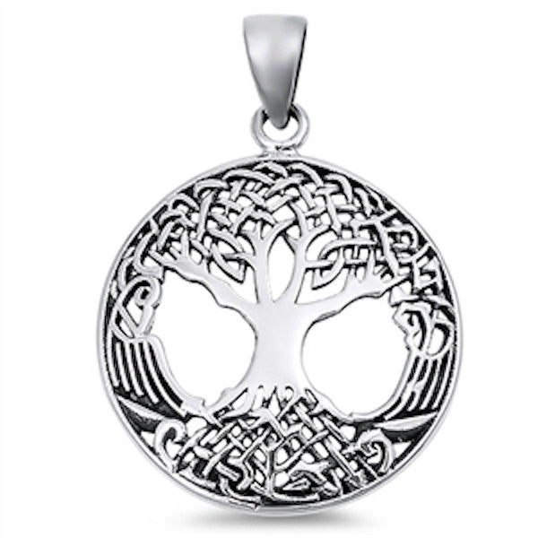 Medallion Solid Rhodium Tree Of Life Pendant Charm For Necklace 925 Sterling Silver (31 mm)