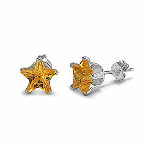 4mm 5mm 6mm 7mm 8mm Solid 925 Sterling Silver Citrine Yellow Star Shape Stud Post Earrings November Birthstone Children Gift Star Jewelry - Blue Apple Jewelry
