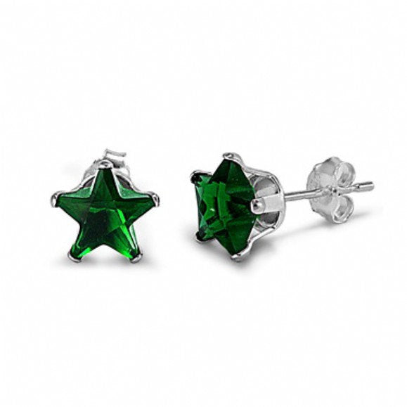 4mm 5mm 6mm 7mm 8mm Solid 925 Sterling Silver Emerald Green Star Shape Stud Post Earrings May Birthstone Gift Star Jewelry - Blue Apple Jewelry