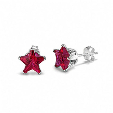 4mm 5mm 6mm 7mm 8mm Solid 925 Sterling Silver Red Ruby Star Shape Stud Post Earrings July Birthstone Children Gift Star Jewelry - Blue Apple Jewelry