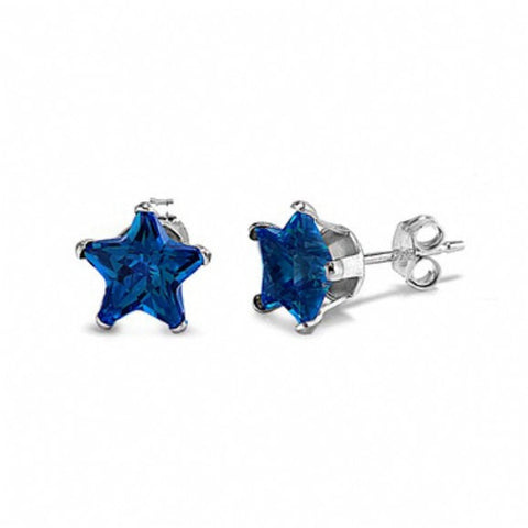 4mm 5mm 6mm 7mm 8mm Solid 925 Sterling Silver Deep Blue Sapphire Star Shape Stud Post Earrings September Birthstone Gift Star Jewelry - Blue Apple Jewelry