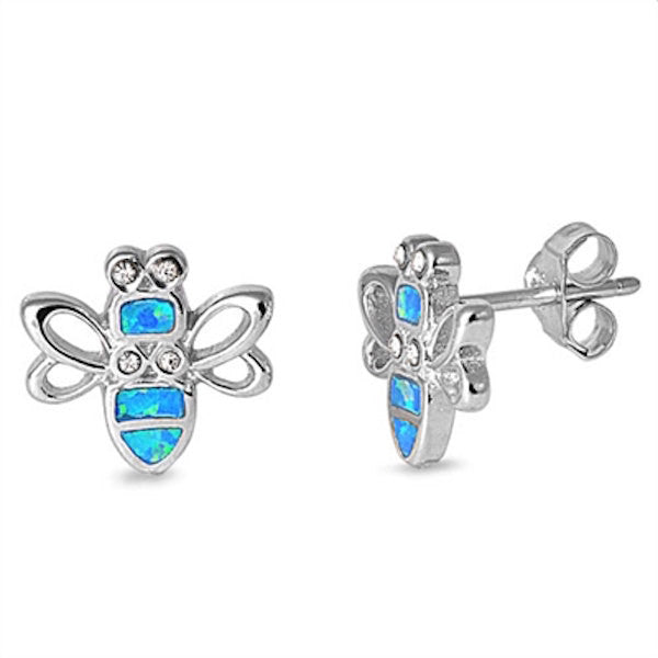 Pair of 12mm Bumble Bee Stud Post Earring Solid 925 Sterling Silver Blue Lab Created Australian Opal Synthetic White Topaz Cut Kids Gift