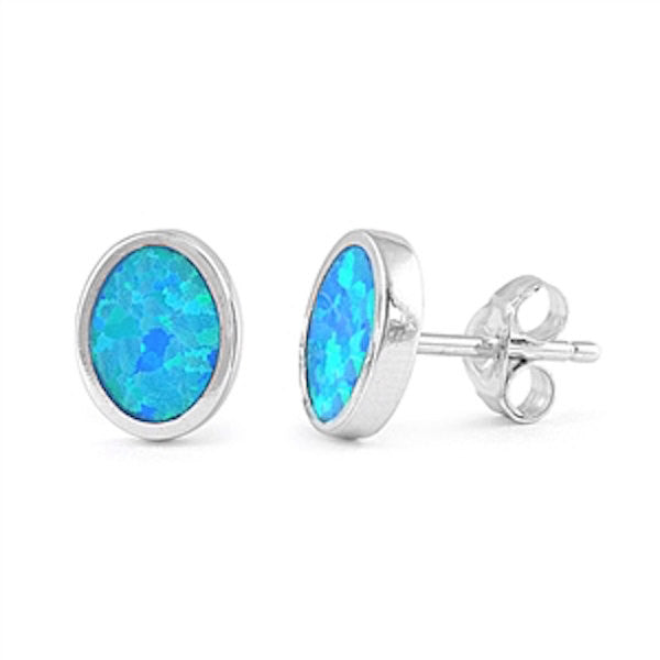 Solitaire 10mm Oval Stud Post Earrings Lab Created Blue Opal Solid 925 Sterling Silver - Blue Apple Jewelry