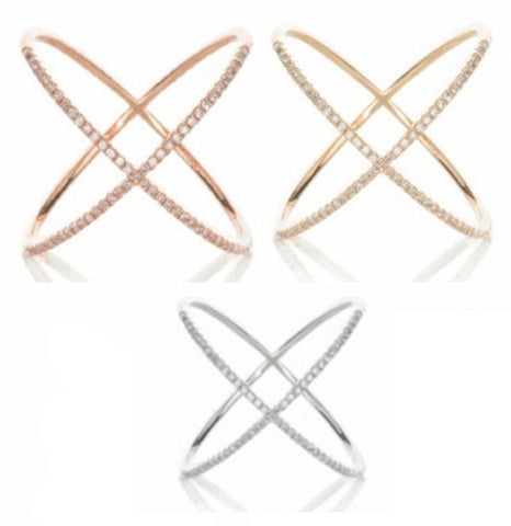 14K Rose Gold Yellow Gold Cross Over X Crisscross Infinity Pave Sparkling Brilliant Diamond CZ Solid Sterling Silver Ring Valentines Gift - Blue Apple Jewelry
