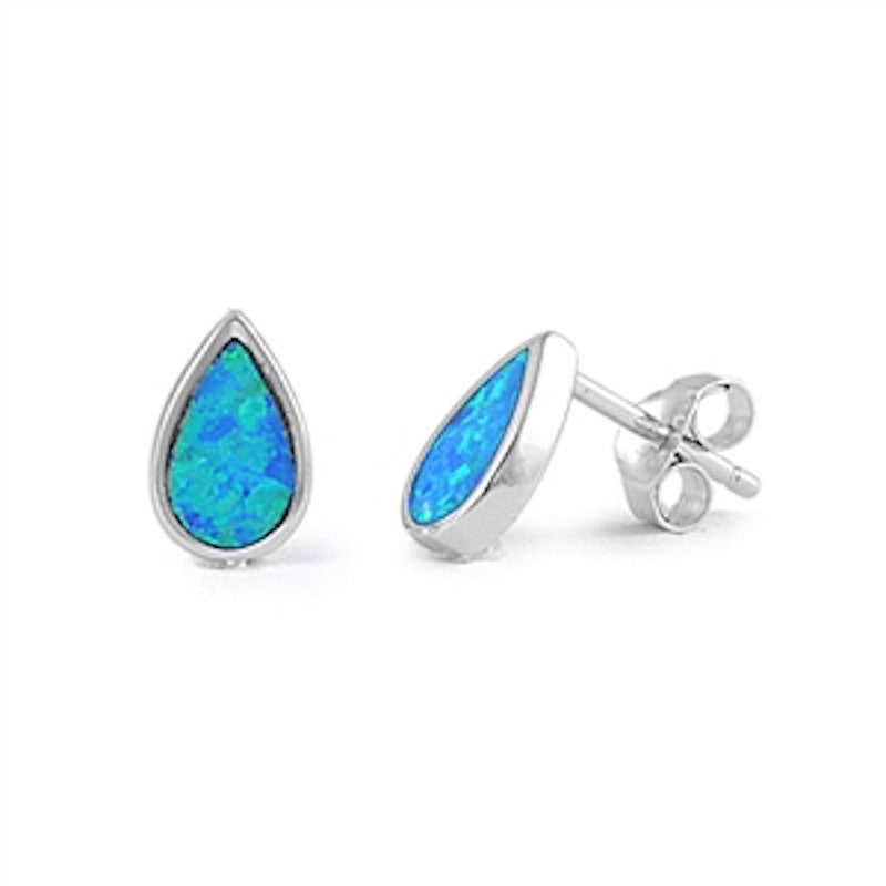 10mm Pear Shape Tear Drop Blue Australian Lab Created Blue Opal Solid 925 Sterling Silver Solitaire TearDrop Stud Post Earring Fashion Gfit - Blue Apple Jewelry