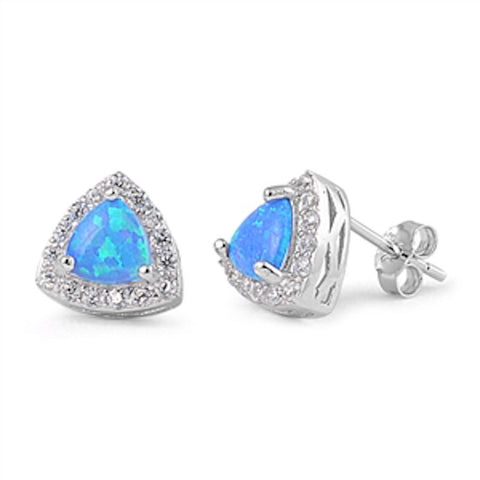 9mm Trillion Cut Blue Lab Created Australian Blue Opal Synthetic White Topaz Solid 925 Sterling Silver Triangle Halo Stud Post Earring - Blue Apple Jewelry