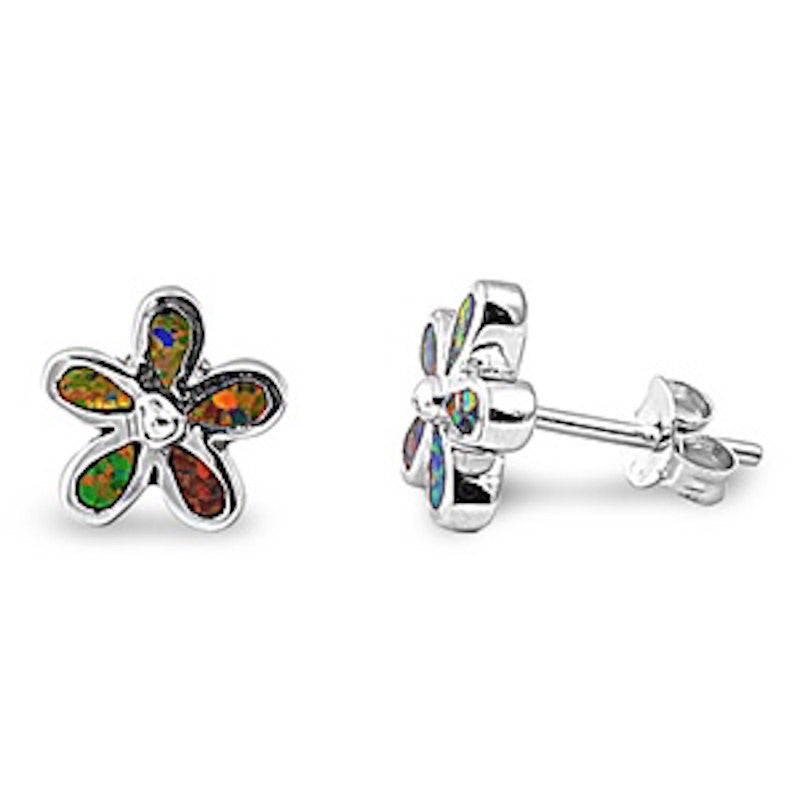Fashion Pair of 9mm Plumeria Flower Stud Post Earrings Synthetic Black Opal Solid 925 Sterling Silver Plumeria Jewelry Mothers Day Gift - Blue Apple Jewelry