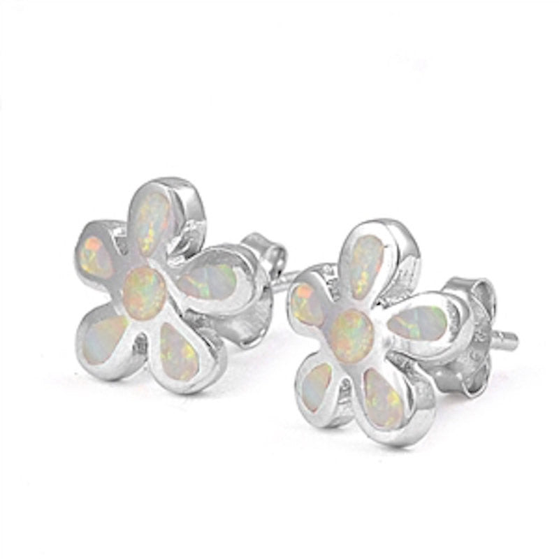 Fashion Pair of 10mm White Lab Created Opal Flower Stud Post Earrings Solid 925 Sterling Silver Flower White Opal Earring Children Gift - Blue Apple Jewelry