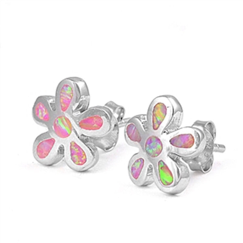 Fashion Pair of 10mm Pink Lab Created Opal Flower Stud Post Earrings Solid 925 Sterling Silver Flower Pink Opal Earring Cute Children Gift - Blue Apple Jewelry
