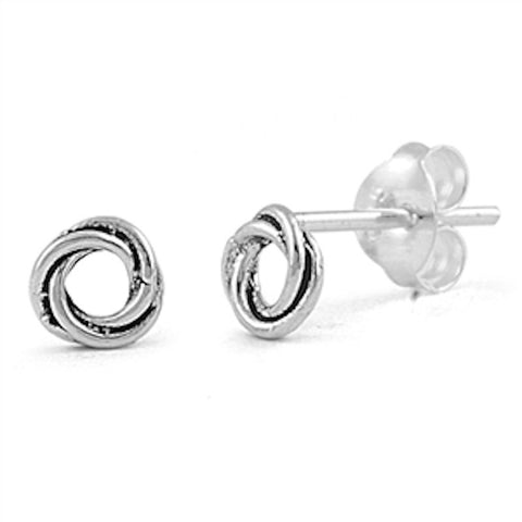 Pair of Small 5mm Celtic Twisted Knot Round Rhodium over Solid 925 Sterling Silver Celtic Stud Post Earrings Celtic Jewelry Gift