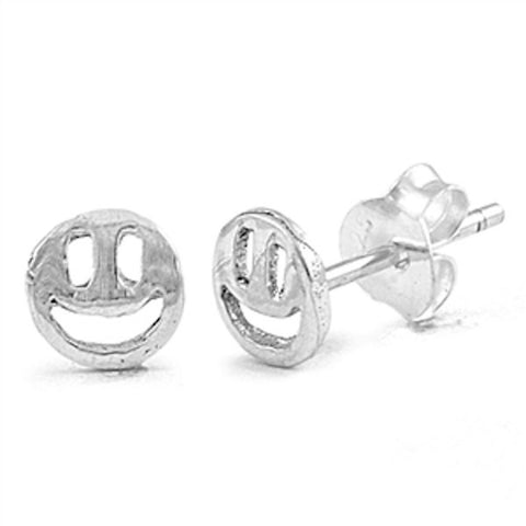 5mm Cute Small Tiny Smiling Face Stud Post Earrings Solid 925 Sterling Silver Smiling Face Earrings Gift For Children Kids  Jewelry