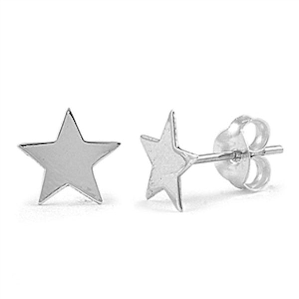 8mm Cute Small Tiny Star Shape Stud Post Earrings Solid 925 Sterling Silver Star Earrings Gift For Children Kids Star  Jewelry - Blue Apple Jewelry