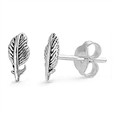 High Fashion 12mm Small Tiny Pair of Feather Design Stud Post Earrings Solid 925 Sterling Silver Feather Earrings Gift For Kids Children - Blue Apple Jewelry