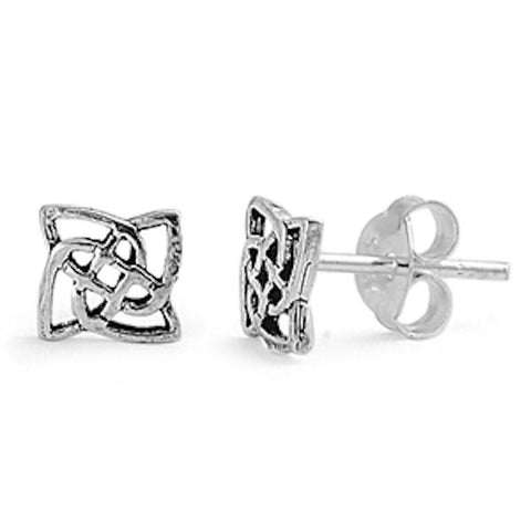 New Fashion 6mm Small Tiny Pair of Square Celtic Knot Design Stud Post Earrings Solid 925 Sterling Silver Celtic Earrings Celtic Jewelry