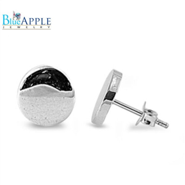 High Polish 8mm Solid 925 Sterling Silver Half Ball Button Moon Stud Post Metal Plain Classic Earring Shiny Push Back Mothers Day Gift - Blue Apple Jewelry