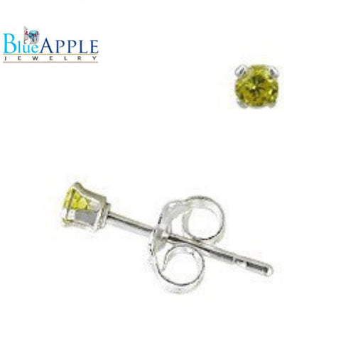 2MM Tiny Canary Canary Yellow Solid 925 925 Sterling Silver Solitaire Stud Post Earrings Baby's Women Excellent for Second Hole Cartilage - Blue Apple Jewelry