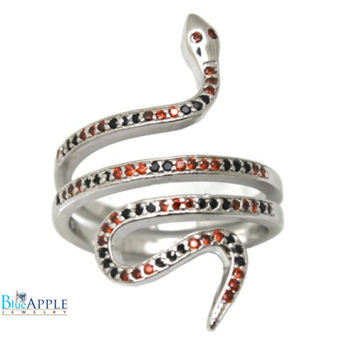 Micro Pave Round Multicolor Snake Ring Solid 925 Sterling Silver Jet Black Diamond CZ Red Garnet CZ Snake Ring Snake Jewelry Mortality Gift - Blue Apple Jewelry