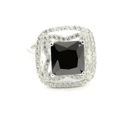 2.85CT Princess Cut Square Jet Black Diamond CZ Round Russian Diamond Clear CZ Double Halo Solid 925 Sterling Silver Wedding Engagement Ring - Blue Apple Jewelry