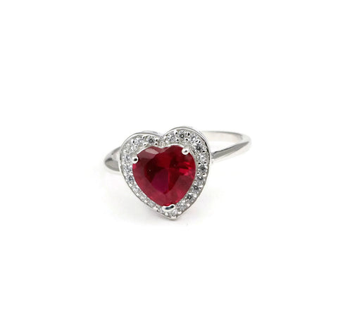 1.71 CT Heart Shape Ruby Promise Ring Solid 925 Sterling Silver Pave Russian Diamond Round Clear CZ Heart Halo Wedding Engagement Ring