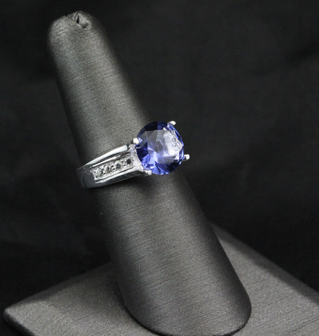 3.95 Carat Round Blue Tanzanite CZ Russian Diamond CZ Solid 925 Sterling Silver Solitaire Accent Wedding Engagement Anniversary Ring Gift - Blue Apple Jewelry