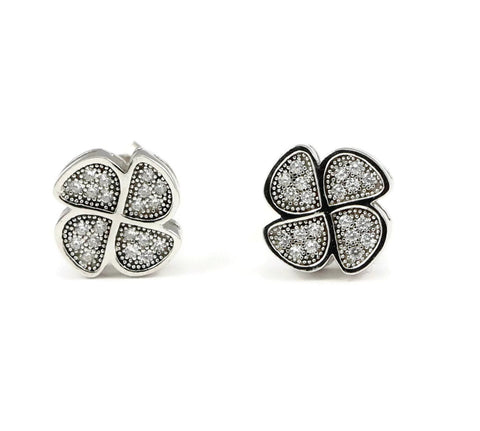10mm Clover Leaf Earring Solid 925 Sterling Silver Round Micro Pave Russian Ice Diamond White Topaz CZ Plumeria Stud Post Earring Love - Blue Apple Jewelry