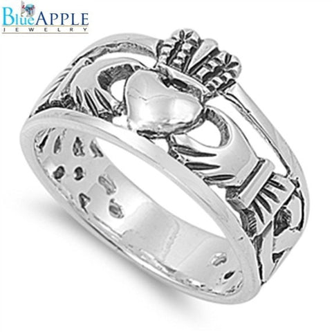 Celtic Claddagh Design Rings in Solid 925 Sterling Silver Heart Shape Claddagh Ring Claddagh Promise Fidelity Wedding Engagement Ring - Blue Apple Jewelry