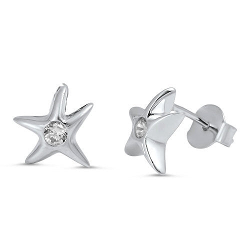 Starfish Stud Earring Ocean Nautical 9mm Solid 925 Sterling Silver Tiny Starfish Cartilage Post Earrings Round Russian Clear Pave CZ - Blue Apple Jewelry