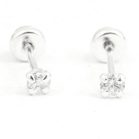 2mm Tiny Stud Post Earring Round Russian Diamond Clear White CZ Solid 925 Sterling Silver Screw Back April Birthstone Gift Cartilage - Blue Apple Jewelry