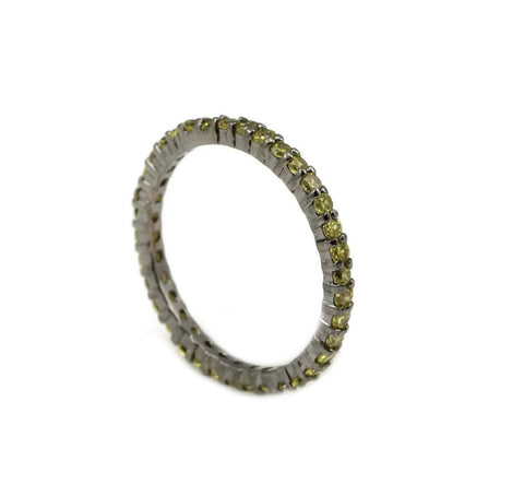 2mm Stackable Full Eternity Band Round Deep Yellow CZ 14k Black Gold over Solid 925 Sterling Silver Wedding Engagement Anniversary Ring Band - Blue Apple Jewelry