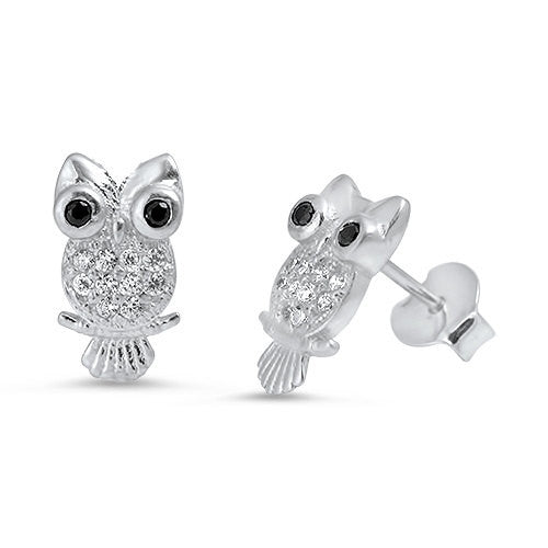 Owl Stud Post Earring Solid 925 Sterling Silver Brilliant Sparking White Sapphire CZ Black Diamond CZ Eye Owl Jewelry Good Luck Fashion Gift - Blue Apple Jewelry