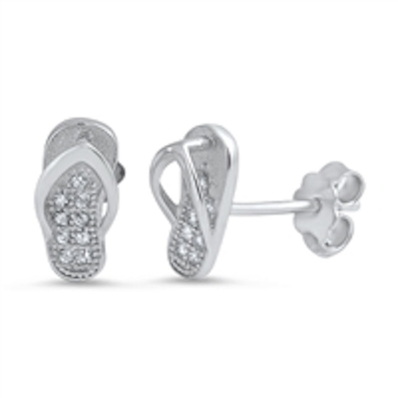 Flip Flop Stud Post Earring Solid 925 Sterling Silver Round Micro Pave Russian Diamond Clear CZ Flip Flop Earrings - Blue Apple Jewelry