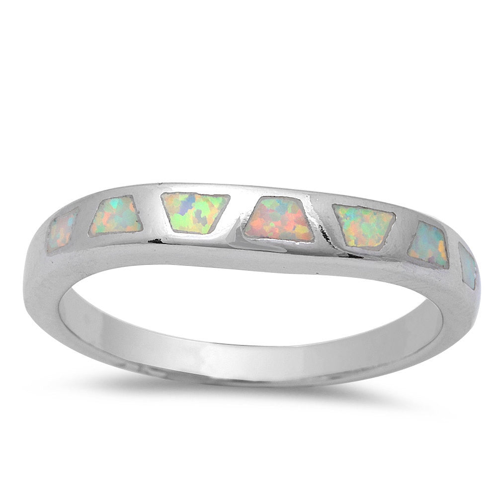 3mm Half Eternity Solid 925 Sterling Silver White Lab Created Opal Inlay Ladies Wedding Engagement Anniversary Band Ring Excellent Gift,  - Blue Apple Jewelry