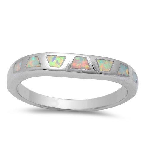 3mm Half Eternity Solid 925 Sterling Silver White Lab Created Opal Inlay Ladies Wedding Engagement Anniversary Band Ring Excellent Gift - Blue Apple Jewelry