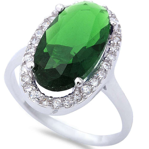 3.00 Carat Oval Cut Emerald Green Round Diamond CZ Solid 925 Sterling Silver Wedding Engagement Anniversary Cocktail Halo Ring Lovely Gift - Blue Apple Jewelry