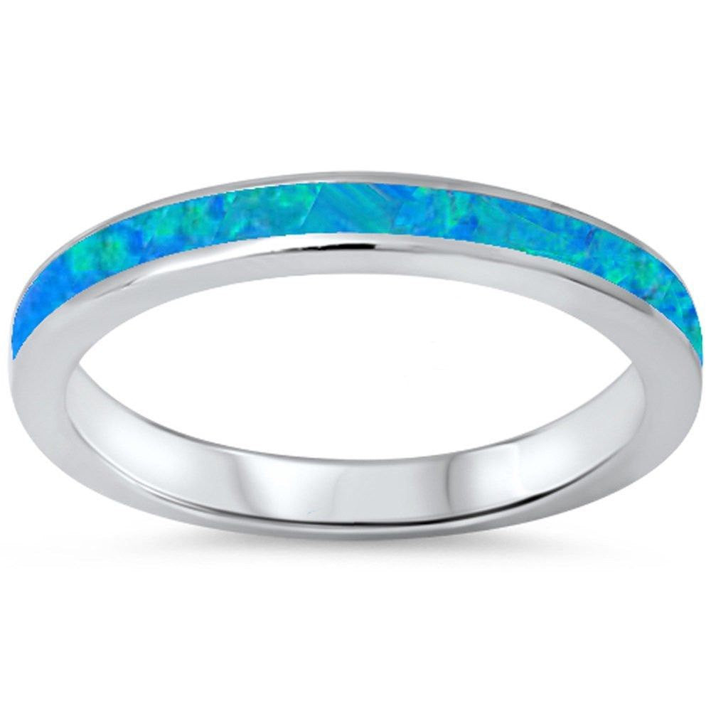 3mm Full Eternity Band Stackable Band Lab Created Blue Australian Lab Opal Solid 925 Sterling Silver Wedding Engagement Band Ring Size 4-11 - Blue Apple Jewelry