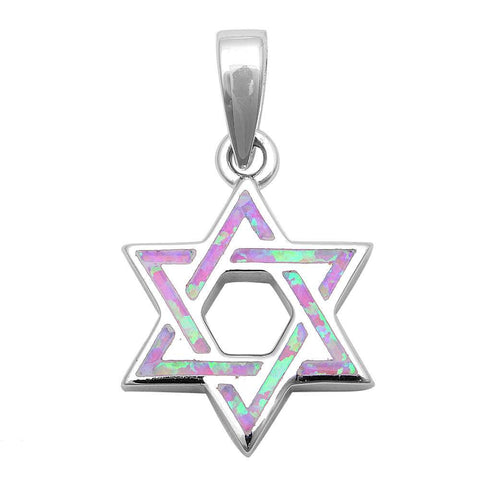 "1.1"" Star Of David Jewish Star Pendant Charm Solid 925 Sterling Silver Lab Created Pink Opal Jewish Star of David Jewelry - Blue Apple Jewelry"