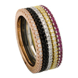 Thin 1.5mm Full Eternity Band Stackable  Round Red Ruby CZ Clear Diamond CZ Jet Black Diamond CZ Rose Yellow Black Gold 925 Sterling Silver - Blue Apple Jewelry