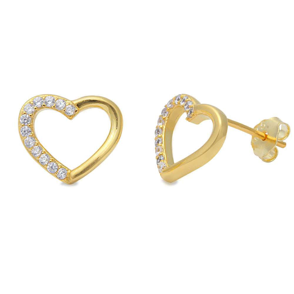 Heart Stud Post Earring Yellow Gold over Solid 925 Sterling Silver Open Heart Russian Diamond Clear CZ Earrings Valentines Love Gift - Blue Apple Jewelry
