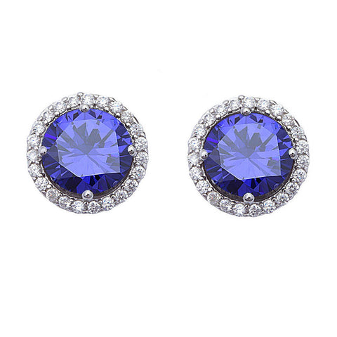 Halo Stud Post Earring Solid 925 Sterling Silver 2.04CT Round Cut Lovely Tanzanite CZ Round Russian CZ  Wedding Engagement Gift Bridesmaid - Blue Apple Jewelry