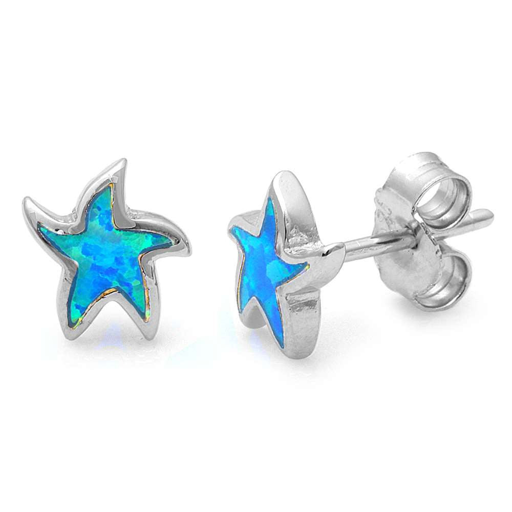 Starfish Earring Solid 925 Sterling Silver Lab Created Australian Blue Opal Inlay Nautical Starfish Stud Post Earrings Starfish Jewelry,  - Blue Apple Jewelry