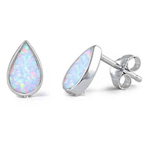 10mm Pear Shape Teardrop Stud Earring  Lab White Opal Solid 925 Sterling Silver Solitaire TearDrop Stud Post Earrings Bridesmaid Gfit - Blue Apple Jewelry