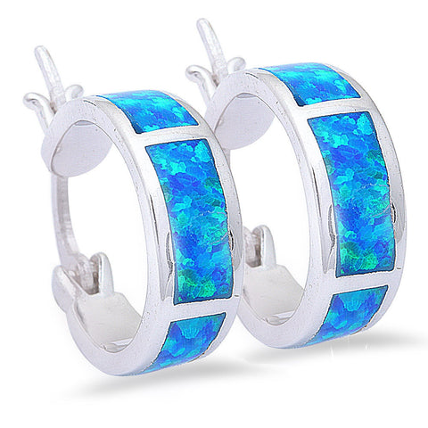 13mm Hoop Huggies Earrings Solid 925 Sterling Silver Lab Created Australian Blue Opal Hoop Huggie - Blue Apple Jewelry