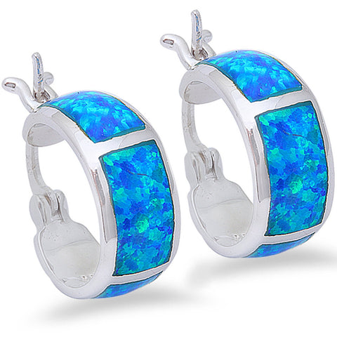 Blue Opal Hoop 13mm Hoop Huggies Earrings Solid 925 Sterling Silver Lab Created Australian Blue Opal Hoop Huggie - Blue Apple Jewelry
