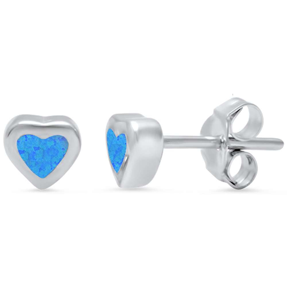 Heart Earring Solid 925 Sterling Silver 5mm Heart Shape Lab Created Blue Opal Promise Earring Valentines Love Heart Earring Gift - Blue Apple Jewelry