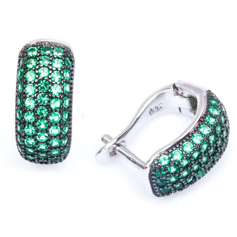 15mm Hoop Earrings Solid 925 Sterling Silver 4 row Micro Pave Round Emerald Green CZ Hoop Huggies Earrings May Birthstone - Blue Apple Jewelry